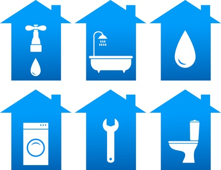 mending: repair set of blue bathroom icons with house silhouette Illustration