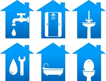 plumbing set of bathroom and repair icons  Illustration