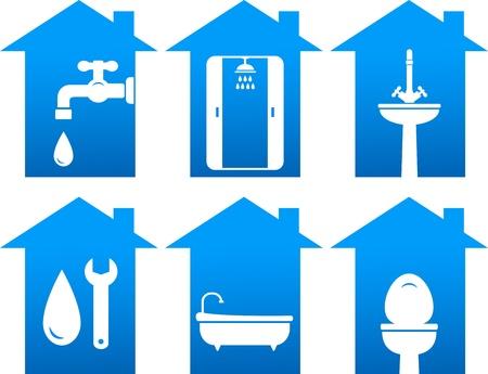 loodgieterswerk: sanitair set van badkamer en reparatie iconen
