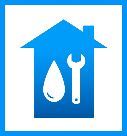plumbing icon with water drop and wrench on house background Stock Vector - 17884180