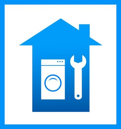 machine � laver: ic�ne avec la cl� et la silhouette machine � laver, r�parer symbole Illustration