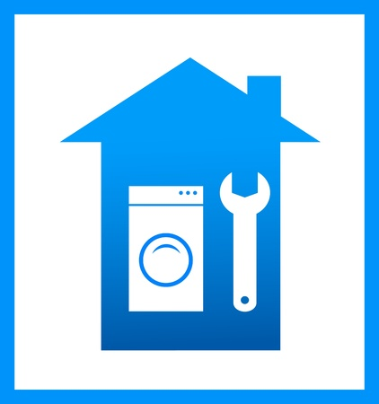 upkeep: icon with wrench and washing machine silhouette, symbol repair