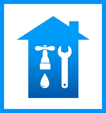 blue icon with plumbing faucet and wrench silhouette Vector