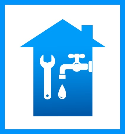 plumbers:  graphic icon with water tap, drop and wrench Illustration