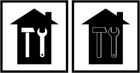 overhaul: due icone con martello, chiave e casa su sfondo bianco Vettoriali