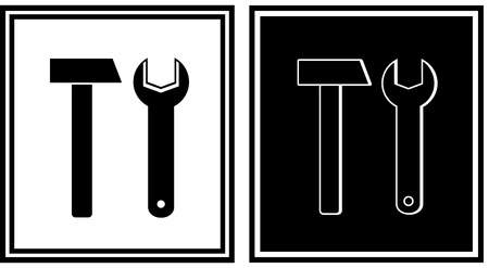 repair icon with hammer and spanner silhouette Vector