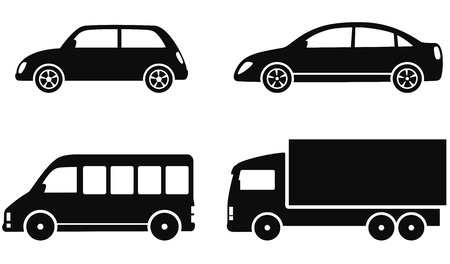 industrial vehicle:  transport set of black cars on white background