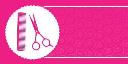 comb:  pink barbershop business card with scissors, comb and pattern Illustration