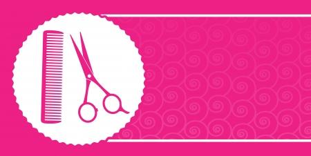 peigne et ciseaux: rose carte de visite salon de coiffure avec des ciseaux, un peigne et le mod�le Illustration