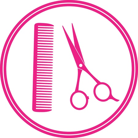 scissors hair: round icon of hair salon with scissors and comb on white background