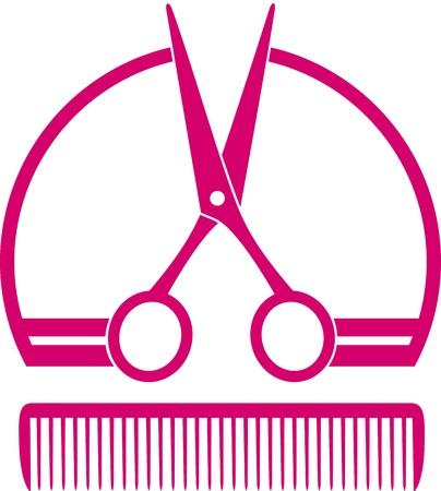 peine: concepto rosa icono peluquería con unas tijeras y el peine en el fondo blanco