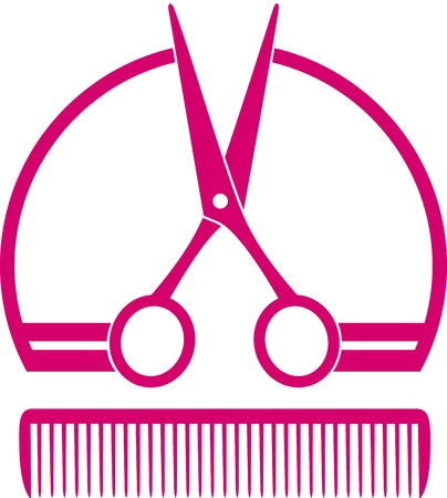 scissors icon:  pink concept barbershop icon with scissors and comb on white background Illustration