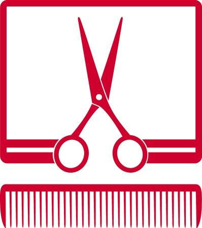 はさみ: 白い背景の上のフレームに櫛とはさみ赤い記号