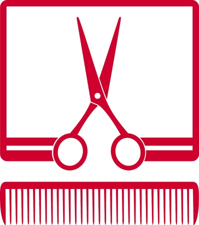red symbol with scissors and comb in frame on white background