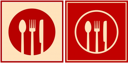 red restaurant icons with plate, spoon, fork and knife in frame Vector