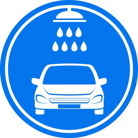 blue car wash icon with shower and water drop Illustration