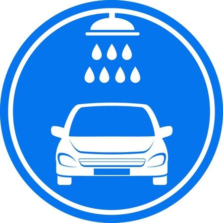 autolavaggio: icona blu autolavaggio con doccia e acqua goccia Vettoriali