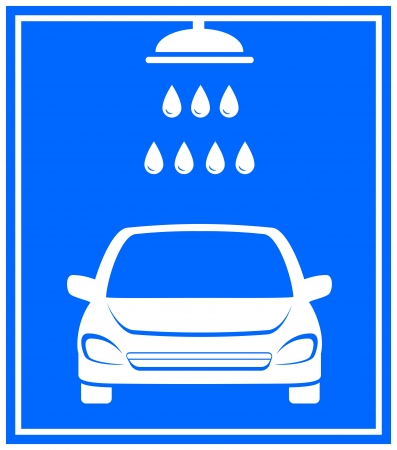 blue icon with car washing and shower with water droplet Vector