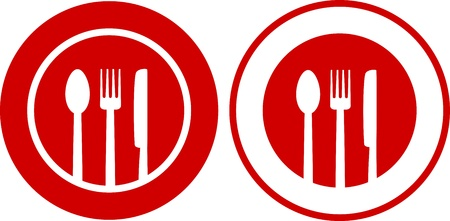 two icons with plate, fork, spoon, knife on red and white background Vector