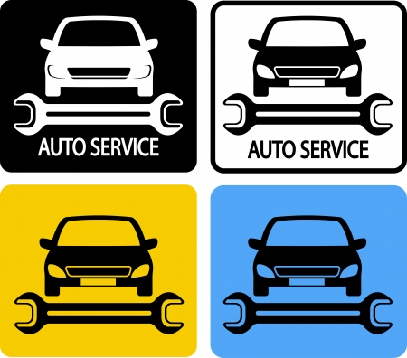 auto service icons set with car silhouette and spanner Vector
