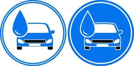 autolavado: dos coches de lavado con agua, gota grande en marco redondo