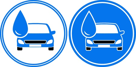 auto washing:   two washing cars with big water drop in round frame