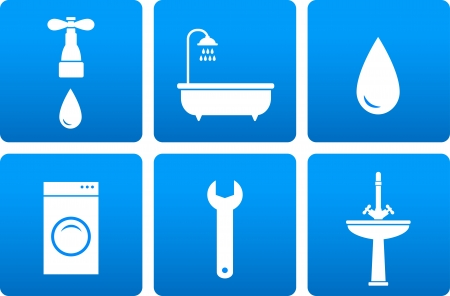 spigot:  set with bath objects on blue background with tap, washing machine, spanner, sink and water drop