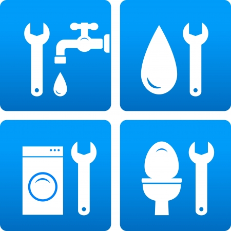 wash tub:  set with wrench, water drop, washing machine silhouette on blue background Illustration