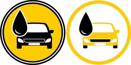 two icons with car silhouette and black fuel oil drop Vector
