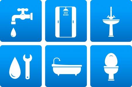 loodgieterswerk: set van sanitair techniek pictogrammen met blauwe knoppen