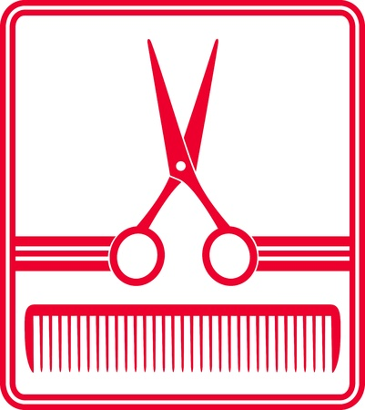 hair pins:  red hairdresser icon with scissors and comb silhouette