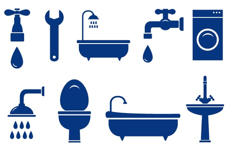 plumbing:  plumbing engineering set with isolated bath objects on white background Illustration