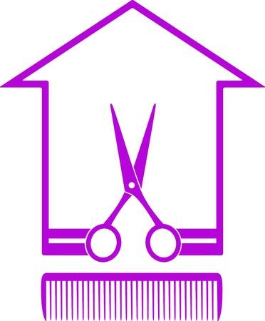 hairstyling: icono blanco y negro con la silueta de las casas, las tijeras y el peine en el fondo blanco