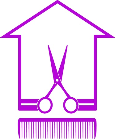 hairstyling: monochrome icon with house silhouette, scissors and comb on white background Illustration