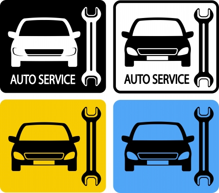 colorful set of auto service icons with car and wrench Vector