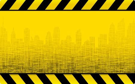blocco stradale: giallo grunge sfondo di costruzione con il paesaggio urbano e grattacieli Vettoriali