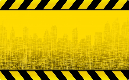 warn: yellow grunge construction background with cityscape and skyscrapers