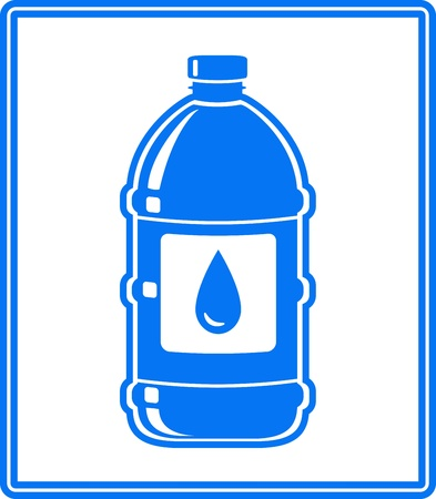blue icon with water drop and bottle on white background Vector