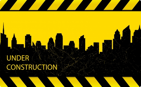 warning tape: industrial construction background with dark grunge city silhouette