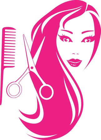 scissors and comb:   graphic silhouette beautiful girl with hairdresser scissors and comb