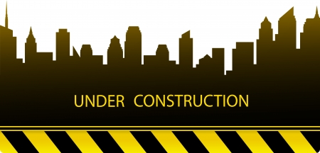 dark construction background with modern city silhouette Stock Vector - 18519665