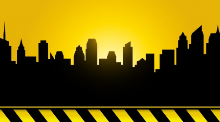 house under construction:  black modern city background, sunset and construction tape Illustration