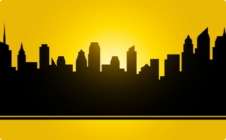 yellow city landscape with sunset and skyscrapers Stock Vector - 18519668
