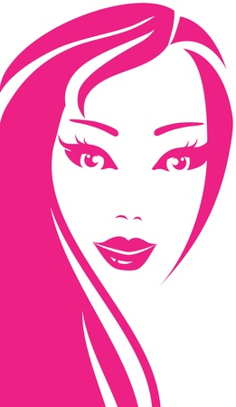 pink portrait of young happy beautiful smiling woman Illustration