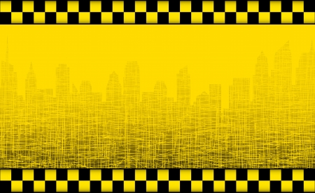 transport background with taxi sign and graphic city silhouette Vector