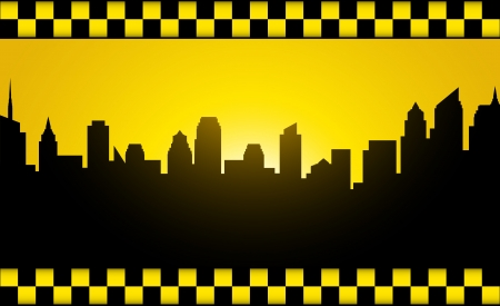 yellow cab: transport background with evening city silhouette and taxi stripe