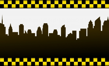 business card with dark city background and taxi sign Vector