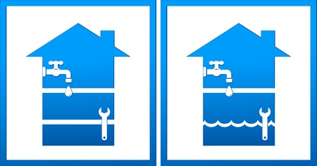 set with house, plumbing wrench, water drop and wave Vector