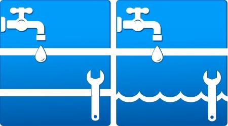 overhaul: due icone blu con acqua di rubinetto, chiave inglese, goccia d'acqua e onda bianca