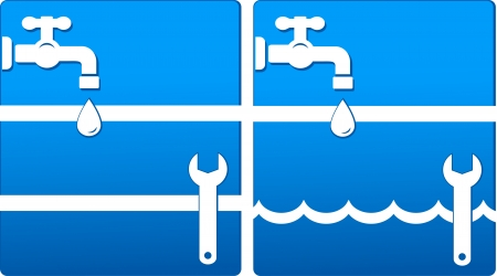 two blue water icons with tap, wrench, water drop and white wave Stock Vector - 18729724